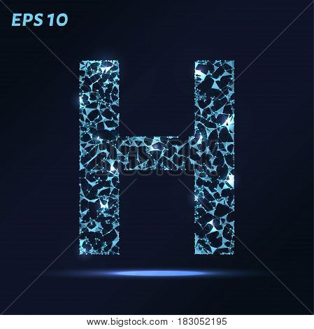 The Letter H Consists Of Points, Lines And Triangles. Vector Illustration.