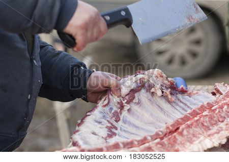 Cutting Fresh Meat