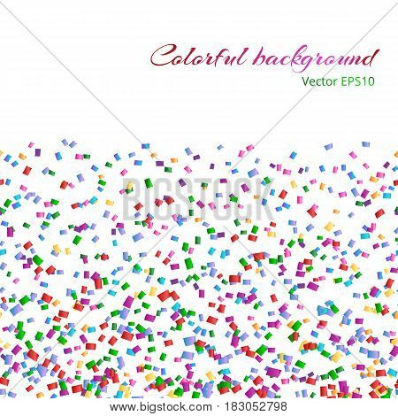 Abstract background with multicolored confetti on white backdrop