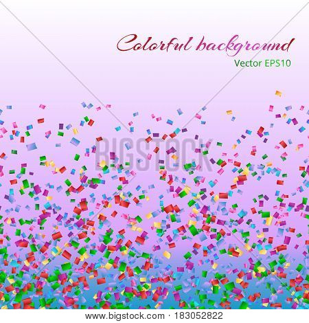 Abstract colorful background with confetti on a pink backdrop