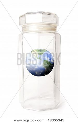 Protecting Earth Inside A Crystal Jar Isolated On White.