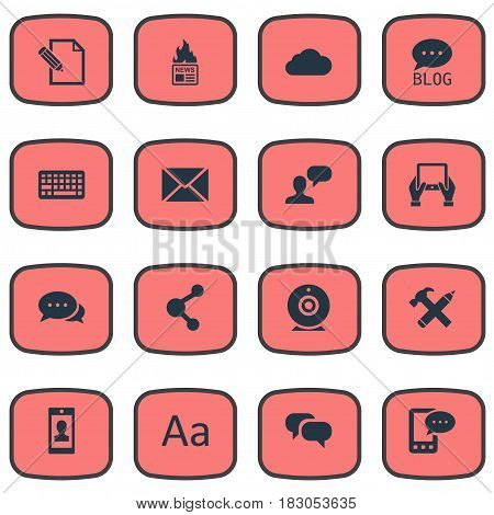 Vector Illustration Set Of Simple Blogging Icons. Elements Profile, Overcast, Share And Other Synonyms Smartphone, Pen And Hand.