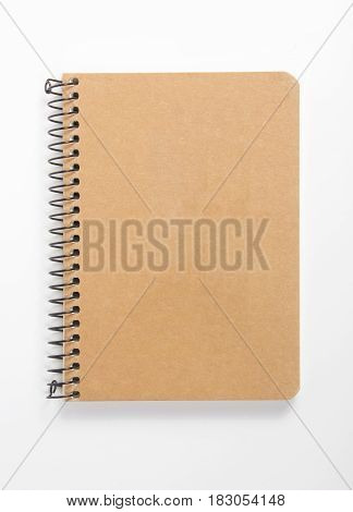 Top view Recycled paper notebook front cover on white background