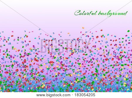 Holiday background with falling confetti on a pink backdrop