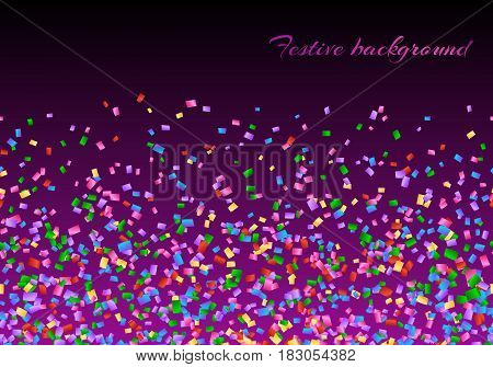 Christmas background with multicolored confetti on the violet backdrop