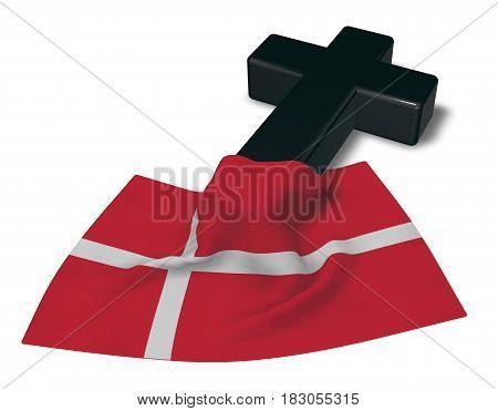 christian cross and flag of denmark - 3d rendering