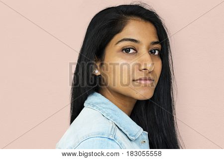Portrait of indian woman with staring face