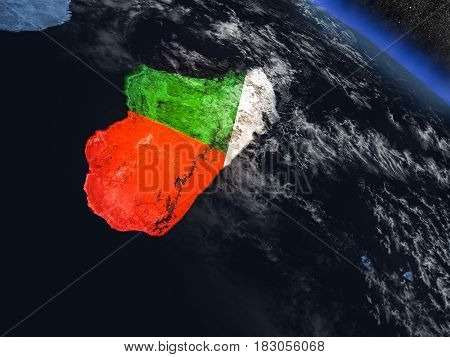 Madagascar With Embedded Flag From Space