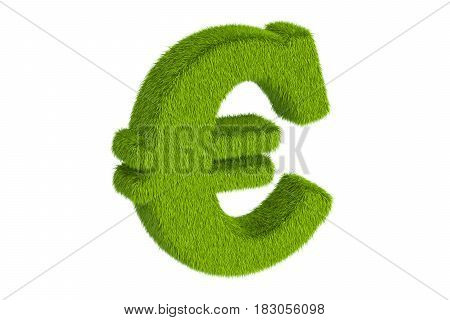 Grassy euro symbol 3D rendering isolated on white background
