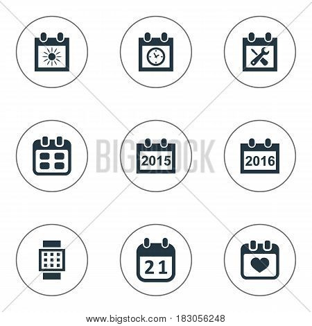 Vector Illustration Set Of Simple Calendar Icons. Elements Intelligent Hour, Annual, Agenda And Other Synonyms Date, History And Sun.