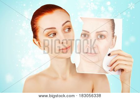 beauty concept portrait of red haired woman with skin changes