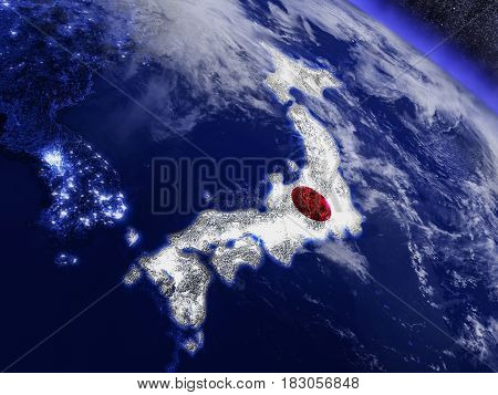 Japan With Embedded Flag From Space