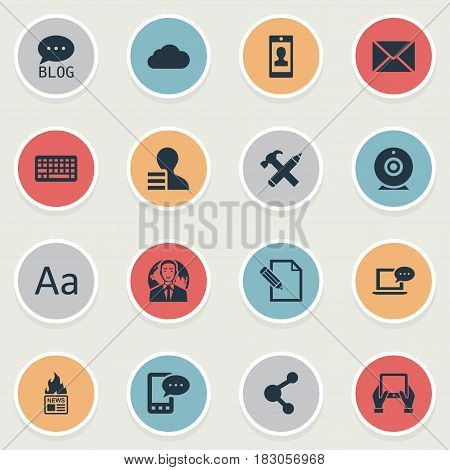 Vector Illustration Set Of Simple Newspaper Icons. Elements Site, Gazette, Notepad And Other Synonyms Globe, Camera And Forum.