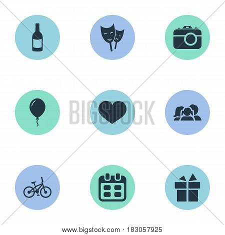 Vector Illustration Set Of Simple Holiday Icons. Elements Days, Mask, Domestic And Other Synonyms Feelings, Photography And Gift.