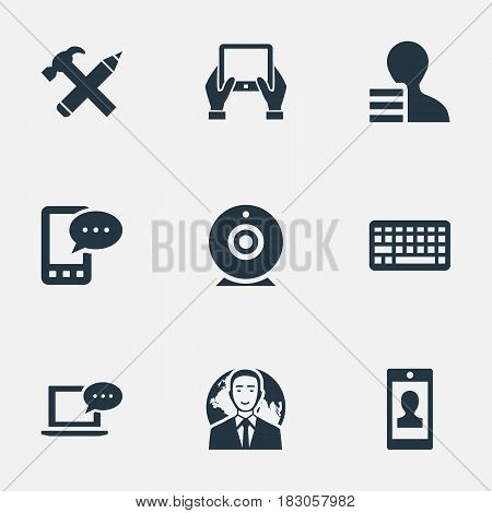 Vector Illustration Set Of Simple Blogging Icons. Elements Repair, Notepad, Keypad And Other Synonyms Laptop, Profit And Web.