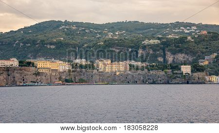 Panoramic view of Sorrento coast at sunset Campania Italy