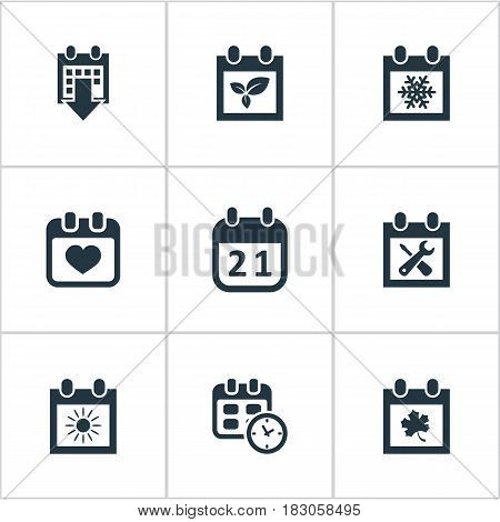 Vector Illustration Set Of Simple Calendar Icons. Elements Leaf, Plant, Heart And Other Synonyms Date, Almanac And Leaf.