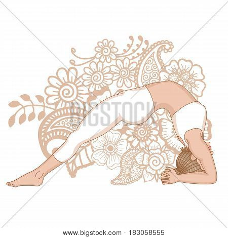 Women silhouette. Upward Facing Two-Foot Staff Yoga Pose. Dwi Pada Viparita Dandasana Vector illustration.