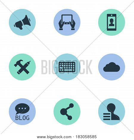 Vector Illustration Set Of Simple Blogging Icons. Elements Keypad, Loudspeaker, Overcast And Other Synonyms Earnings, Megaphone And Gain.