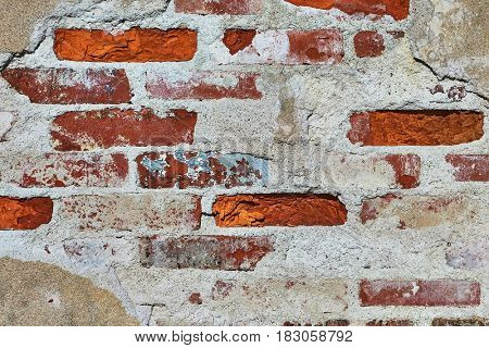 Bare brick wall texture, old, aged bricks