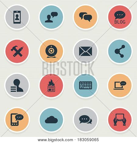 Vector Illustration Set Of Simple User Icons. Elements Site, Gazette, Laptop And Other Synonyms Gazette, Discussion And Overcast.