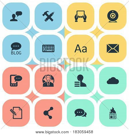 Vector Illustration Set Of Simple User Icons. Elements Post, Argument, Keypad And Other Synonyms Alphabet, Relation And Negotiation.