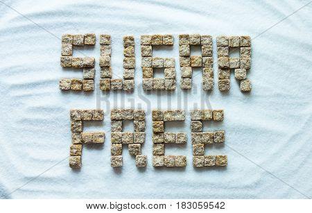 Sugar free sign made from sugar cubes