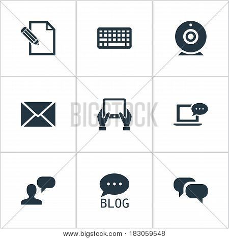 Vector Illustration Set Of Simple User Icons. Elements Keypad, Broadcast, Site And Other Synonyms Web, Coming And Conversation.