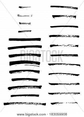 Vector art brushes. Grunge set of 24 brushes. Black ink brush. All used brushes are included in brush palette.