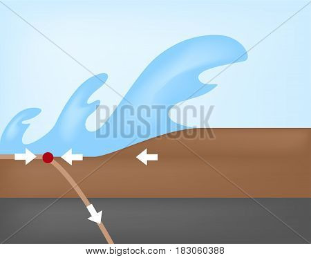 tsunami ( big wave ) vector on abstract background