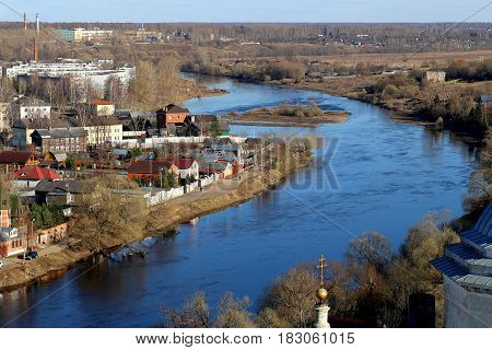 Photo view from above town Torzhok with a river and houses
