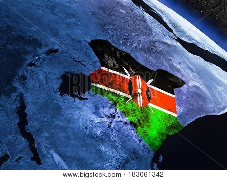 Kenya With Embedded Flag From Space