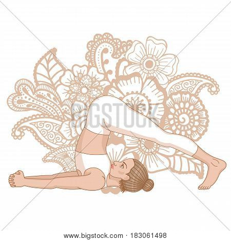 Women silhouette. Plow Yoga Pose. Halasana Vector illustration