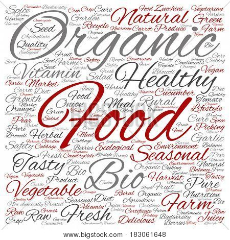 Concept or conceptual organic food healthy bio vegetables square word cloud isolated on background