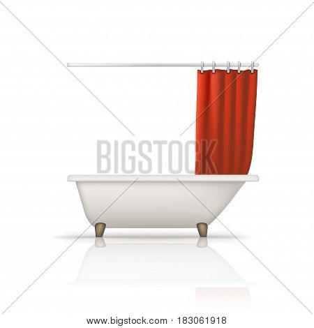 illustration of white color bathtube with red curtain on white background