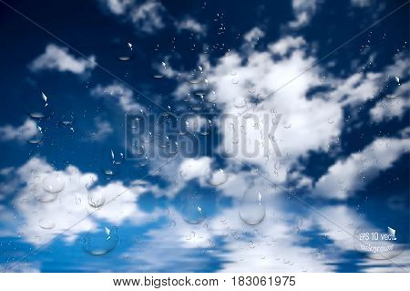 water drops on glass window. sky. clouds .vector illustration