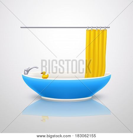 illustration of blue color bathtube with curtain and duck on bright background