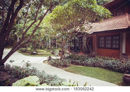 Bali luxury villa tropical paths in jungle
