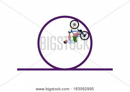 illiustration of colored silhouette male cyclist making stunt on white background