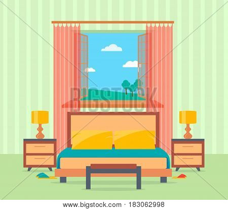 Bedroom interior design in flat style including bed table lamps nightstands and window. Flat vector illustration.