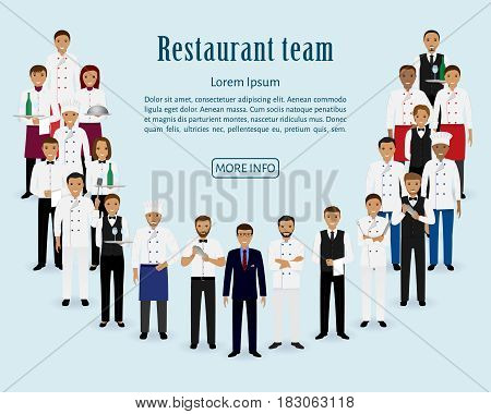 Restaurant team. Group of manager chef waiters waitresses cook bartenders standing together. Food service staff website banner. Vector illustration.