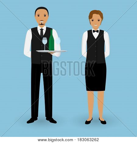 Couple of waiter and waitress with dishes and in uniform stand together. Restaurant team. Service staff. Vector illustration.