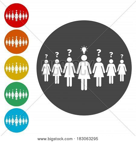 Women are standing, women with idea, simple vector icon