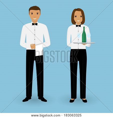 Couple of male waiter and female waitress with dishes and in uniform. Restaurant team concept. Food service occupation staff. Vector illustration.