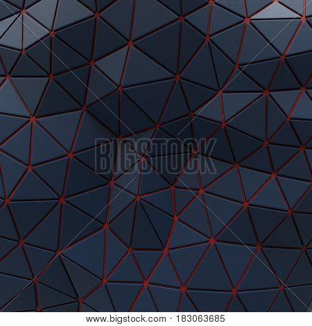 Abstract background of triangle polygons background. Blue. 4d rendering