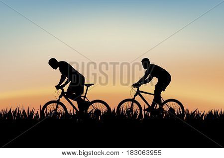 illustration of two cyclist silhouettes riding on grass at sunset