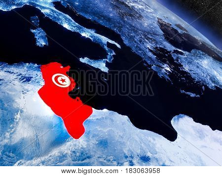 Tunisia With Embedded Flag From Space