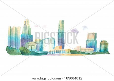 Modern buildings in urban city low angle view watercolor illustration