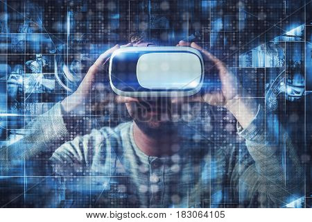 Virtual Reality Goggles Concept with Caucasian Men in His 20s. Multimedia VR 3D Glasses.