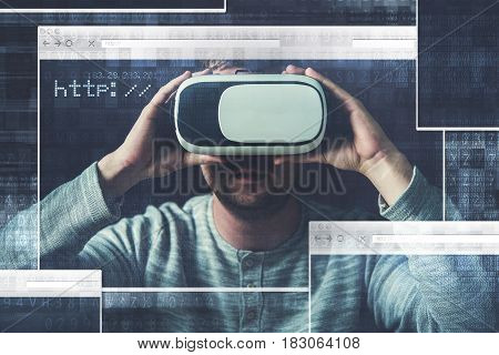 Browsing Online Media Using VR Virtual Reality Glasses Concept Illustration. Caucasian Men Wearing VR 3D 360 Glasses